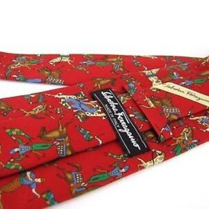 SALVATORE FERRAGAMO Tie Red Whimsical Jester